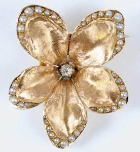 Vintage 14kt. Diamond and Pearl Flower Brooch