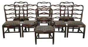 Eight George III Style Ribbon Back Dining Chairs