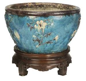 Large Floral Decorated Planter with Stand