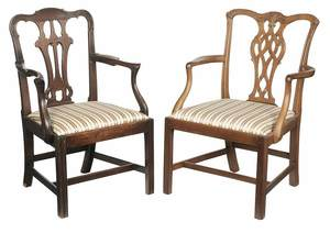 Two Chippendale Mahogany Open Arm Chairs