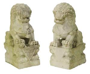 Pair Carved Marble Foo Lions