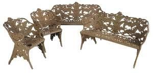 Four Piece Fern Decorated Cast Iron Garden Suite
