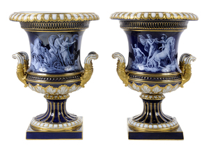 Fine Pair of Meissen Porcelain Urns