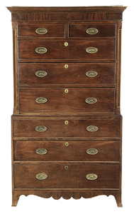 George III Inlaid Mahogany Chest on Chest