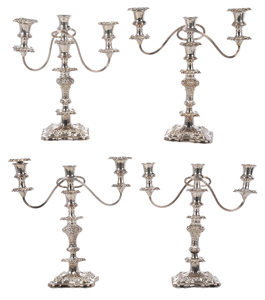 Set of Four Silver-Plate Two Arm Candelabra