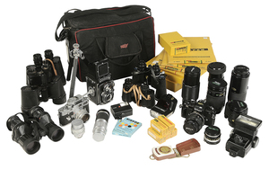 Nine Cameras and Binoculars / Many Accessories