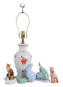 Seven Herend Porcelain Pieces