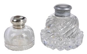 Two Monumental Glass Inkwells