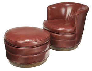 Vintage Upholstered Swiveling Tub Chair, Ottoman
