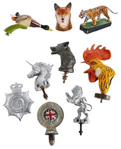Nine Metal Figures / Automobile Hood Ornaments
