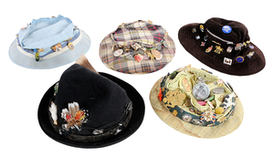 Five Vintage Hats With Approximately 100 Buttons