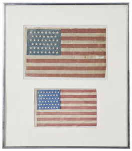 Two Framed American Miniature Flags