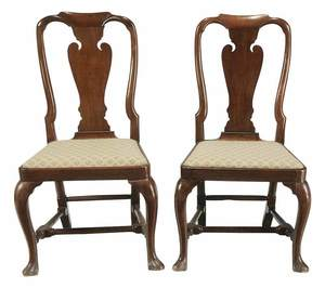 Pair Queen Anne Fruit Wood Side Chairs