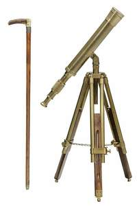 Brass Telescope and Walking Stick