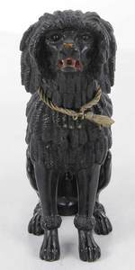 Carved Wooden Poodle with Brass Collar