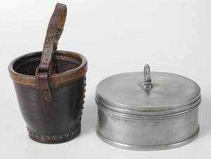 Pewter Box, Miniature Bucket and Meerschaum Pipe