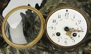 Figural Mantle Clock With Stag and Hound
