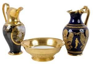 Three Pieces Continental Gilt and Cobalt Porcelain