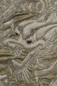 Two Embroidered Dragon Panels