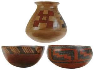 Three Pieces Decorated Pueblo Pottery