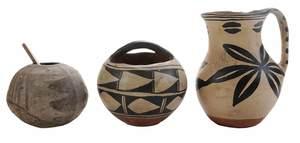 Three Pieces Santo Domingo Pueblo Pottery