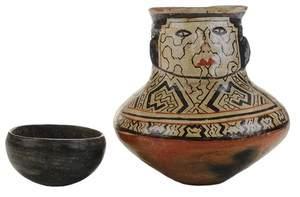 Shipibo Figural Pottery Vase, and a Blackware Pottery Bowl