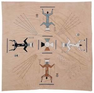 Yei Style Native American Gouache on Cloth