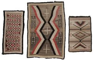 Navajo Hand-Woven Crystal Rug and Two Saddle Blankets