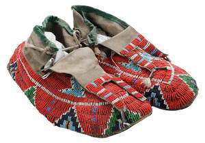 Pair Sioux Frank Goodlance Beaded Men's Rawhide Moccasins