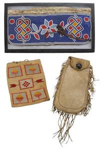 Beaded Plains Arm Band, Deerskin Pouch and an Embroidered Pouch