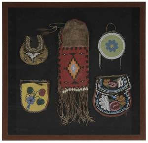 Five Framed Woodlands and Plains Beaded Pouches