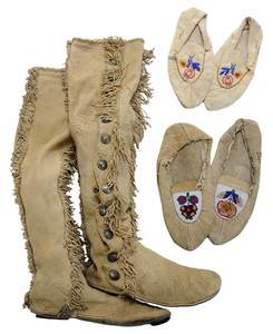 Pair Native American Buckskin Boots, and Two Pairs Beaded Moccasins