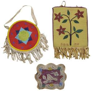 Two Native American Beaded Purses, and a Victorian Floral Wall Panel