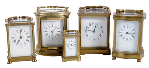 Five Brass and Beveled Glass Carriage Clocks