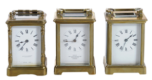 Three Carriage Clocks with Cases