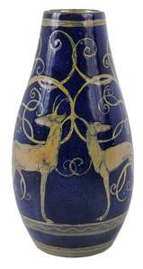 Studio Pottery Vase With Greyhound and Stag