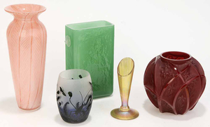 Group of Five Art Glass Vases