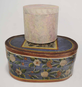 Group Four Covered Hat Boxes One Grass Basket