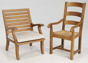 Slat Back Arm Chair and Lounge Chair