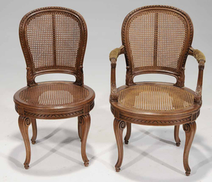 Set of Eight Provincial Louis XV Style Carved Oak and Caned Dining Chairs