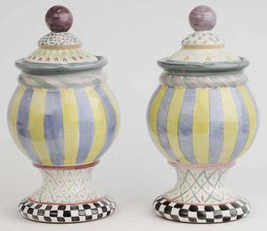 Pair Mackenzie-Childs Covered Urns