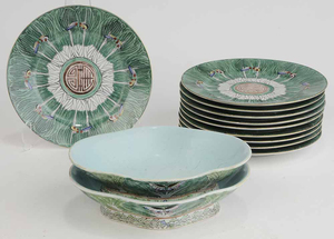 Chinese Porcelain Cabbage Leaf Pattern Dinner Plates and Dishes