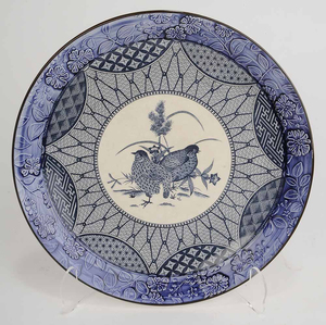 Three Japanese Platters, Blue Transfer Patterns with Birds in Center