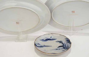 Group of Seven Assorted Asian Plates and Two Platters
