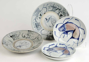 Group Two Chinese Bowls and Three Koi Plates