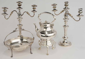 Four Pieces Silver-Plate