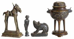 Three Bronze Figures, Carved Stone Animal