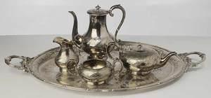 Four Piece Silver-Plate Tea Service, Tray