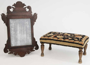 Chippendale Style Mirror and Crewel Fabric Stool