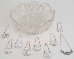 Group of Nine Bottle Tickets and One Cut Glass Bowl